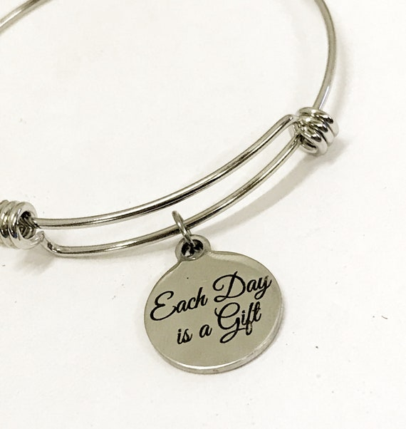 Bracelet Gift, Each Day Is A Gift Bracelet, Motivating Gifts, Moving Forward Gift, Recovery Gift, Charm Bracelet, New Day Gift For Her