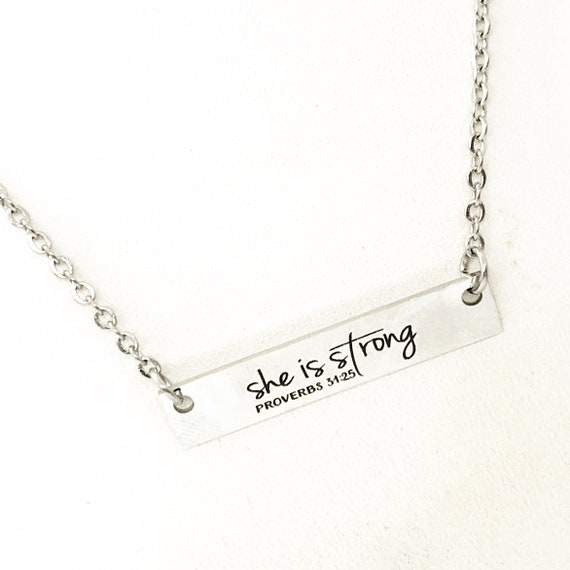 Faith Jewelry, She Is Strong Necklace, Proverbs 31 25, Strong Woman Gift, Adoption Gift, Affirmation Jewelry, Affirmation Words