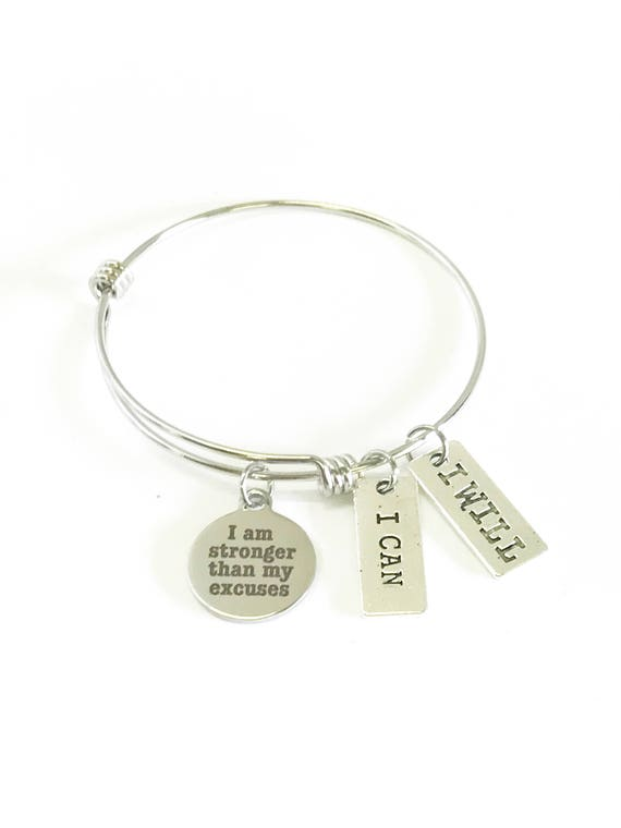 I Am Stronger Than My Excuses Expanding Bangle Bracelet, I Can, I Will, Motivational Exercise Jewelry, Inspirational Jewelry, Gift for Her