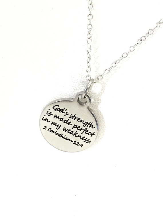 Christian Jewelry, God's Strength Is Made Perfect In My Weakness Necklace, Scripture Jewelry, Christian Gift, Bible Verse Jewelry
