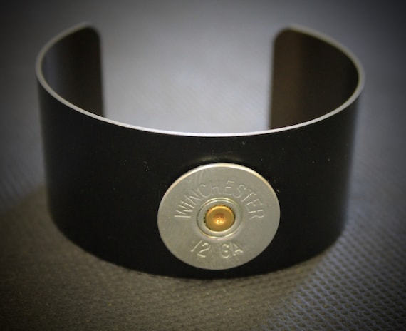 12 Gauge Shotgun Shell Black Anodized Aluminum Cuff Bracelet; Shotgun Jewelry; 12g Shotgun Shell; Gift For Her; Shooting Sports