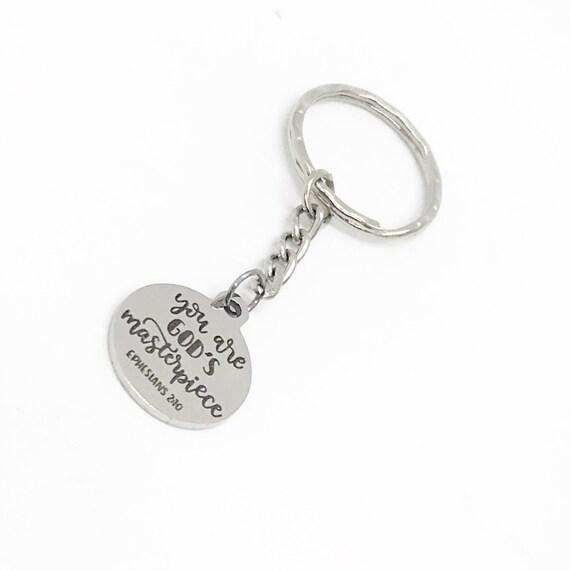 Faith Keychain, You Are God's Masterpiece Keychain, Ephesians 2 10 Keychain, Faith Gift, Charm Keychain, Keychain Gift, Christian Gift
