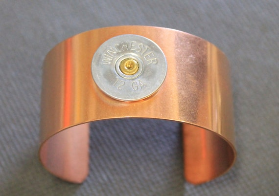12 Gauge Shotgun Shell Copper Cuff Bracelet, 12g Shotgun Shell Jewelry, Statement Bracelet, Gift For Her, Gift For Him, Shooting Sports Gift