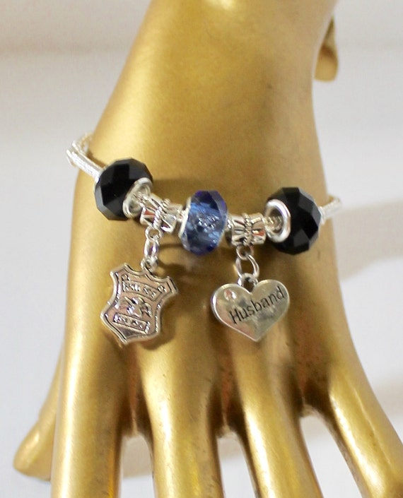 Police Wife European Charm Bracelet, Police Mom, Gift For Mom, Black and Blue, Valentine Gift, Girlfriend Gift, Mothers Day Gift, Sympathy