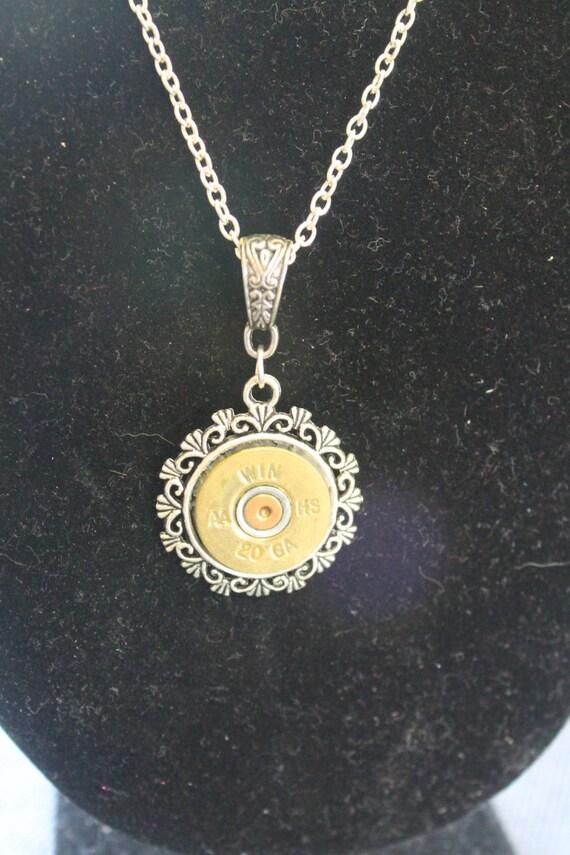20 Gauge Shotgun Shell Pendant on Silver Chain Necklace; Shotgun Shell Jewelry; 20 Gauge Shotgun Shell Jewelry