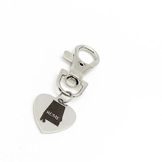 Alabama Charm, Alabama Home State Gift, Alabama Heart Charm, Bag Charm, Keychain Charm, Clip On Charm, Alabama Home Charm