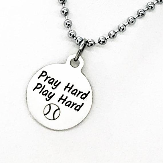 Baseball Player Gift, Pray Hard Play Hard Necklace, Baseball Player Necklace, Christian Baseball Player, Team Gifts, Baseball Mom Gift