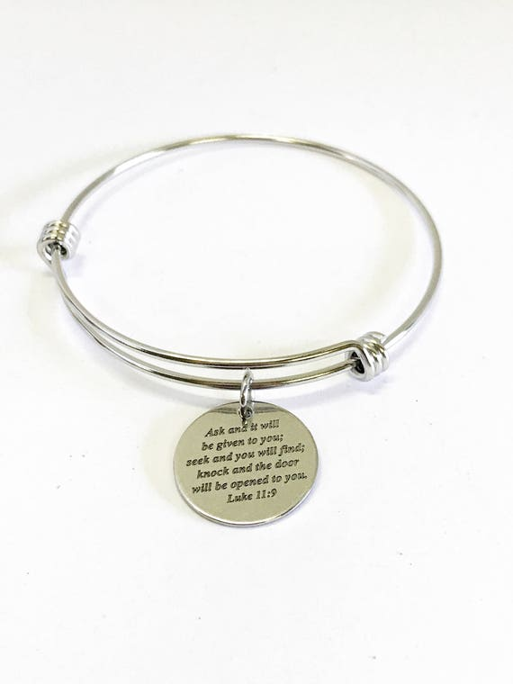 Ask Seek Knock Luke 11:9 Expanding Bangle Charm Bracelet, Scripture Jewelry Gift For Her, Scripture Bracelet, Bible Verse Christian Jewelry