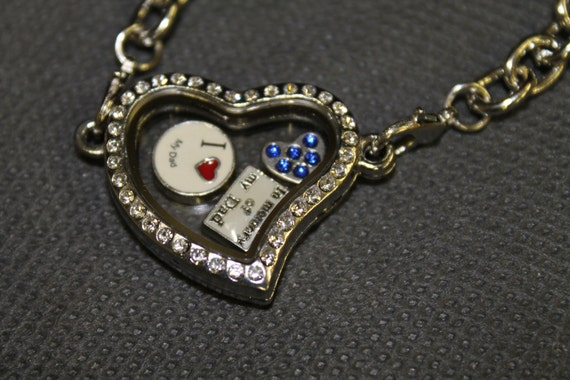 In Memory Of My Dad Floating Charm Memory Locket Bracelet, Gift For Her, Valentines Day Gift, Dad Rememberance, Honoring Dad's Memory