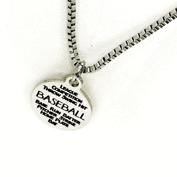 Baseball Necklace, Baseball Words Charm, Son Gift, Baseball Player Gift, Gift For Him, Necklace Gift, Sports Necklace, Baseball Gift