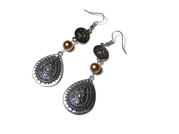 Southwestern Style Dangle Earrings with Golden Pearl Bead, Statement Earrings for Wife, Southwestern Earrings, Gift For Her, Bead Jewelry