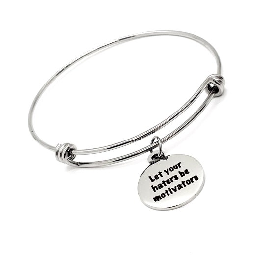 Affirmation Jewelry, Let Your Haters Be Motivators Bracelet, Encouraging Her, Daughter Gift, Motivation Gift, Motivating Her, Uplifting Gift