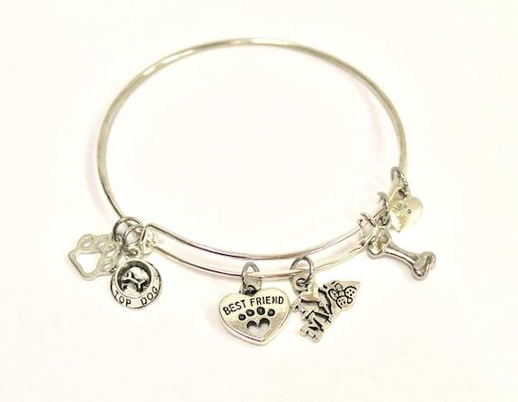 Dog Mom Expanding Bangle Charm Bracelet, I Love My Dog, Dog Jewelry, Dog Charm Bracelet, Dog Lover Jewelry, Dog Person, Gift For Her