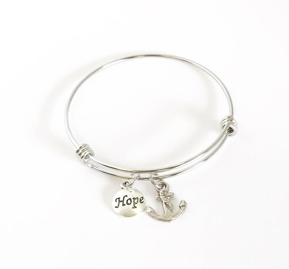 This Hope Is Our Anchor Expanding Bangle Charm Bracelet, Hebrews 6 19 Bible Verse Bracelet Gift for Her, Inspirational Wife Jewelry Gift