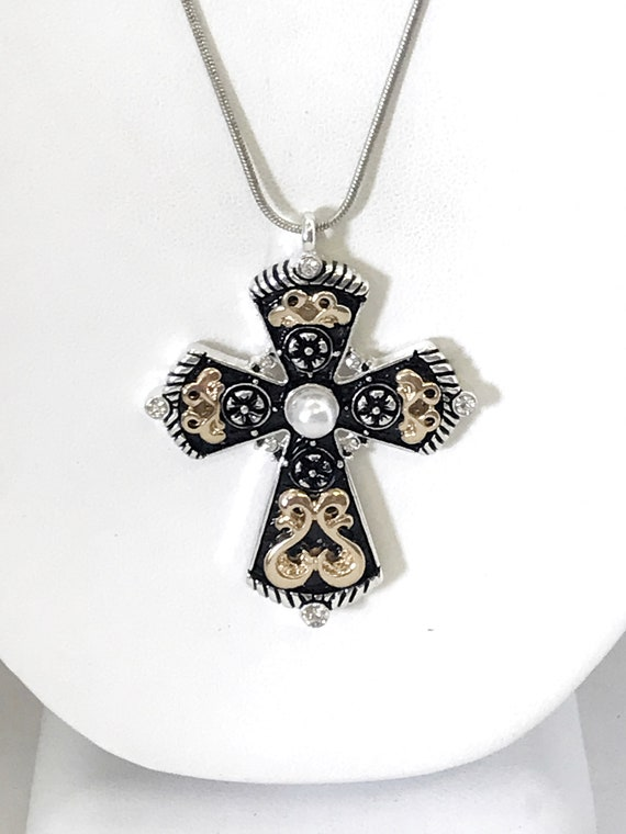 Cross Necklace, Cross Pendant, Ornate Cross, Southwestern Style Pendant, Southwestern Necklace, Christian Statement Necklace, Gift For Her