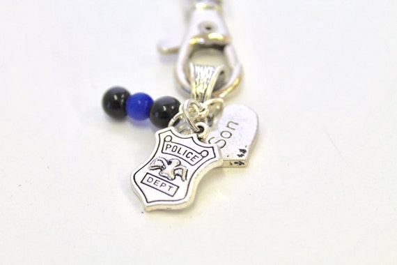 Police Supporter Keychain, Police Wife Gift, Police Mom Gift, Gift For Her, Police Family Gifts, Police Charms, Thin Blue Line Police Gift