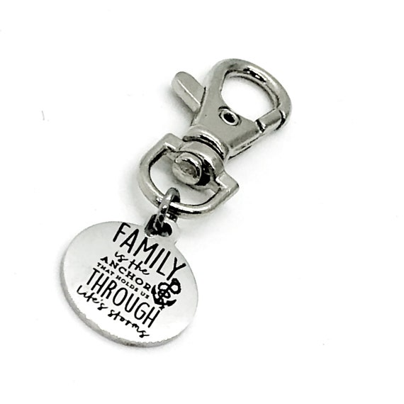 Bag Charm, Family Is The Anchor That Holds Us Through Life's Storms Clip, Keychain Clip, Sister Gift, Daughter Gift, Keychain Charm