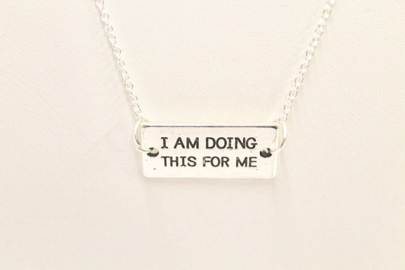 I Am Doing This For Me Connector Pendant on Silver Chain Necklace, Gift For Her, Motivational Jewelry, Minimalist Jewelry