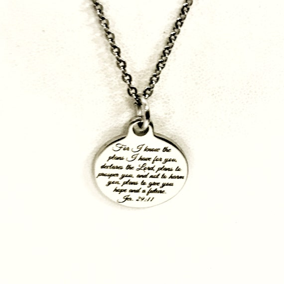 Christian Gift, For I Know The Plans I Have For You Necklace, Christian Jewelry, Jeremiah 29 11 Gift, Daughter Gift, Bible Verse Sympathy