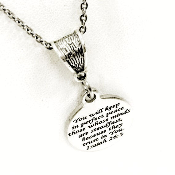 Christian Gift, You Will Keep In Perfect Peace Necklace, Christian Jewelry, Isaiah 26 3 Gift, Daughter Gift, Christian Woman Gift