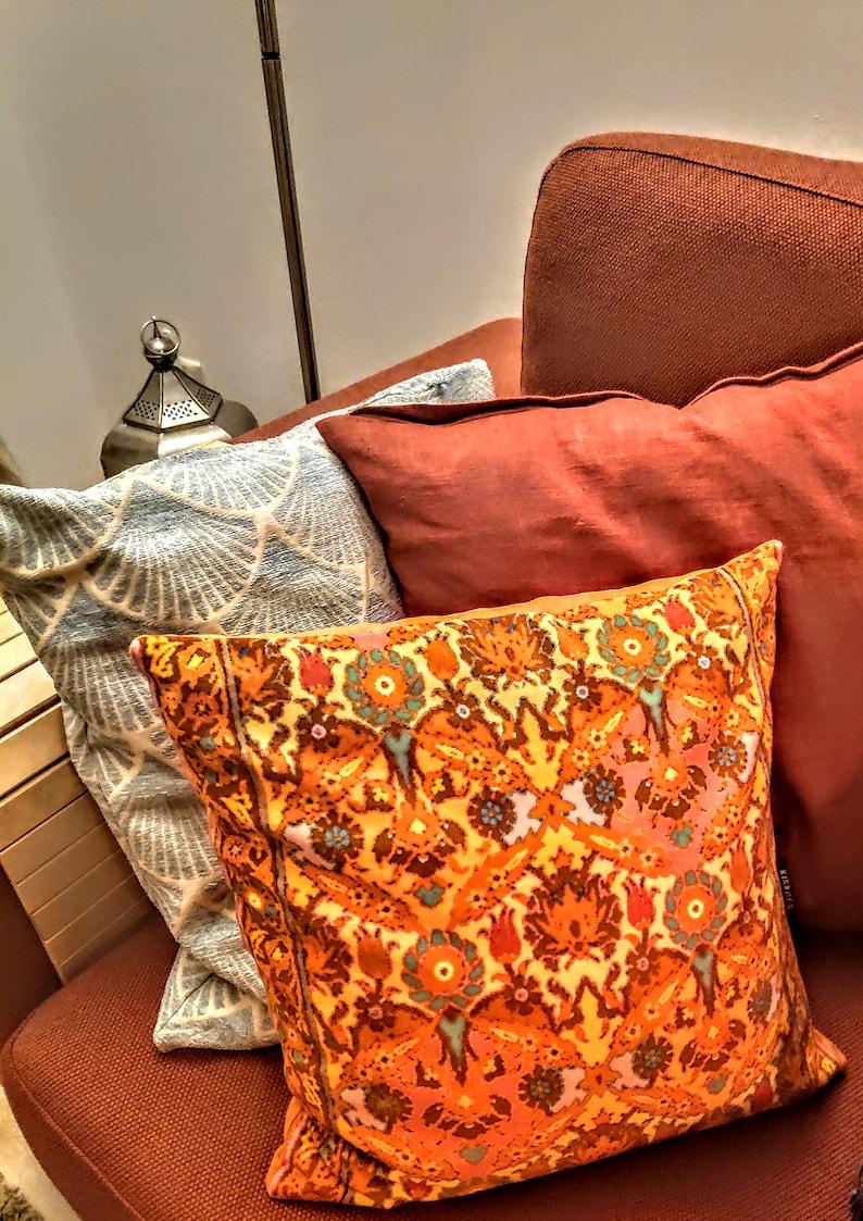 Sofa pillow orange velvet cushion cover TIGER LILY