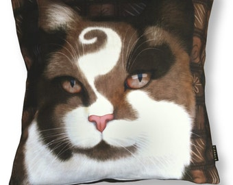 Cat pillow CHOCO PRINCE Brown velvet cushion cover