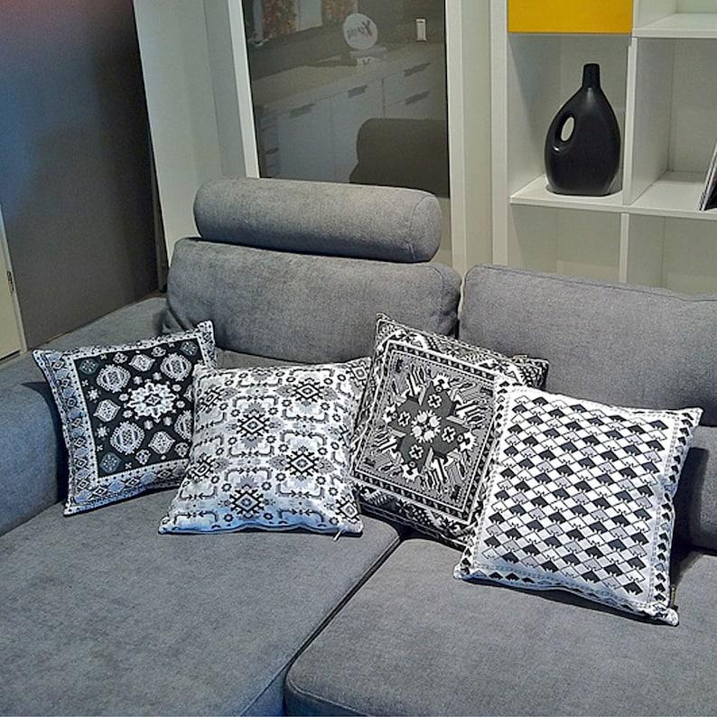 Sofa pillow black velvet cushion cover BLACK MARBLE | Etsy