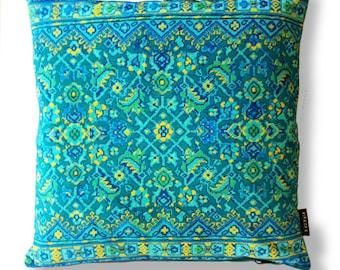 Sofa pillow Aqua velvet cushion cover BLUE HAWAII