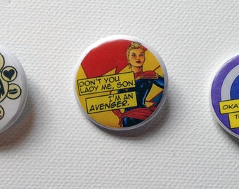 Upcycled pinback button, your choice of Hawkeye (2), Captain Marvel (1), SHIELD/Avengers (2), Snark (1), or Random Marvel designs!