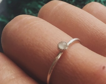 Moonstone Single Stone Stacking Ring // READY TO SHIP // Size 7
