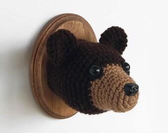 """Bear Faux Taxidermy, Crocheted (5""""x7"""")"""