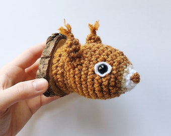 Squirrel Faux Taxidermy, Crocheted