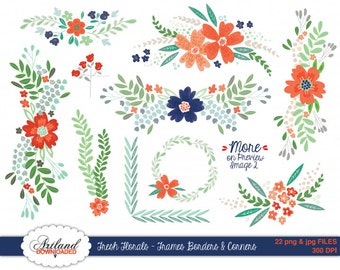 Fresh Florals Frames Borders Corners Digital ClipArt Instant Download Flower Clip art Coral navy blue mint red Wedding Scrapbook paper good