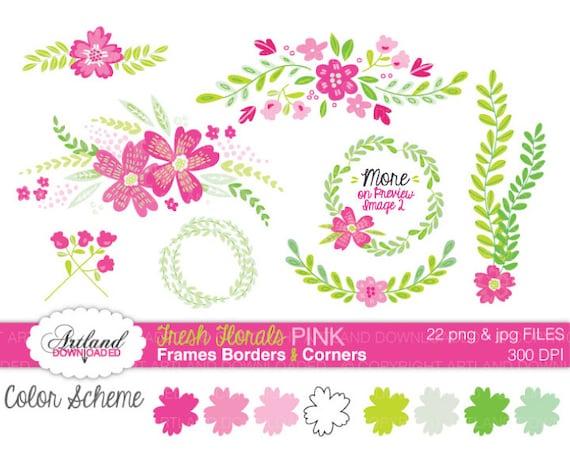 Fresh Florals Hot PINK Frames floral Border Corners Digital | Etsy