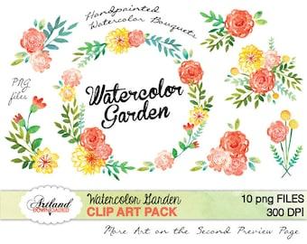 Watercolor Garden Flower Digital ClipArt Instant Download clipart Handpainted Floral Laurel wreath Pink Red Yellow Save date Clip Scrapbook