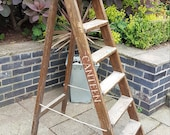 Step Ladders - Vintage Pitch Pine Step Ladders Steps Dresser Steps Ladders Shelving Industrial Ladders