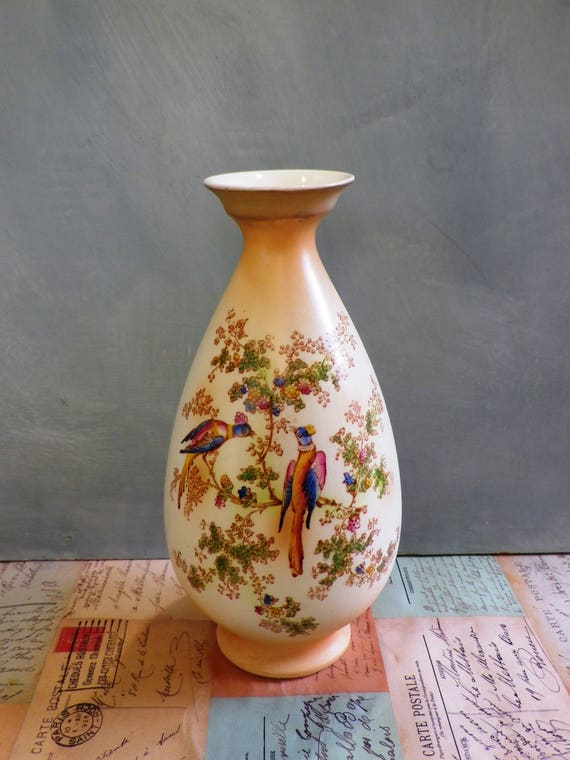 Crown Ducal Ware Vase Edwardian English Blush Ivory Hand Etsy
