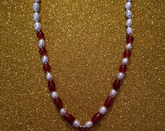 Genuine Ruby and Freshwater Pearl necklace with teardrop Ruby pendant