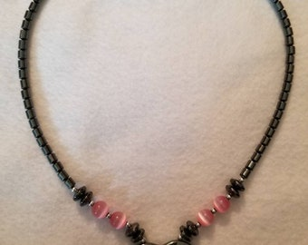 Hematite and pink cats eye heart pendant necklace