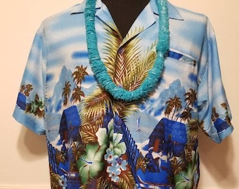 2e3525937 Vintage Authentic Blue Hawaiian Shirt Large/XL