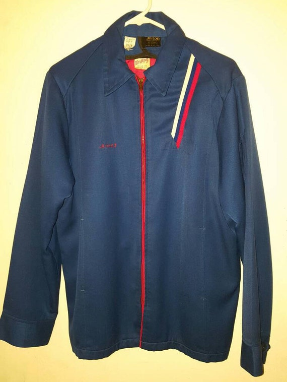 vintage 1980's MANARD OIL COMPANY unitog work jacket - Louisiana - size large - red with white and blue stripes 6szdM9w3Ae