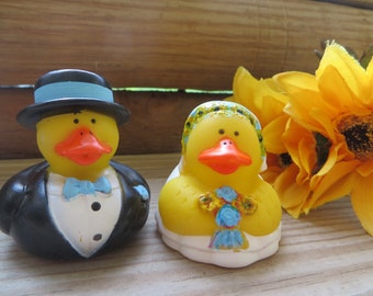 Bride and Groom rubber ducks - I will custom paint to match your wedding theme, bride and groom ducks