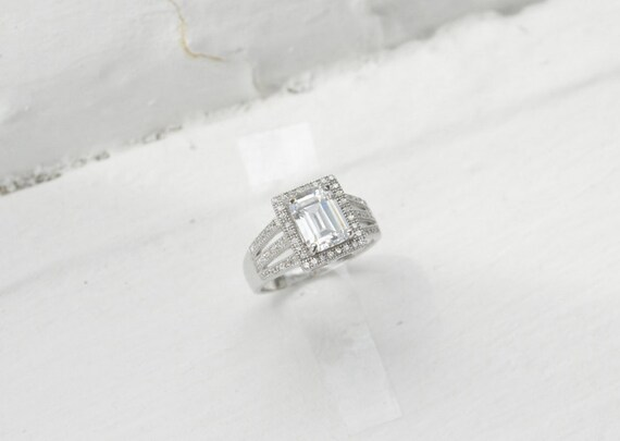 7387b8d32b7c5 14k Emerald Cut Engagement Ring - Halo Ring - Split Shank Engagement Ring -  Triple Band Pave Halo