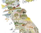 Illustrated Watercolor Map of California - from Lassen Nat. Park to San Diego, and inbetween