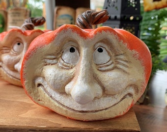 Resin Pumpkin Figurine With A Smiling Happy Face - Holiday Home Decor For Thanksgiving or Halloween