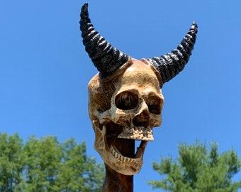 Demon Skull Head Poplar Hand Carved Spiral Walking Stick - Gothic Voodoo Wizard Staff or Hiking Stick