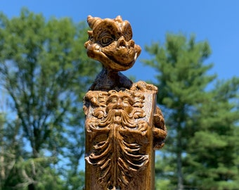 Smiling Dragon Topped Walking Stick With Floral Green Man Face Base Made From Poplar Wood