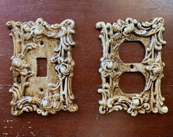 Gothic Victorian Filigree Outlet Cover or Switch Plate Finished in an Antique Distressed Wood Stain Perfect Rustic or Shabby Chic Home Decor