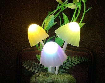 Magical Mushroom LED Nightlight - Color Changing Portable Enchanted Forest With Color Changing Mushrooms And A Whimsical Moss Covering