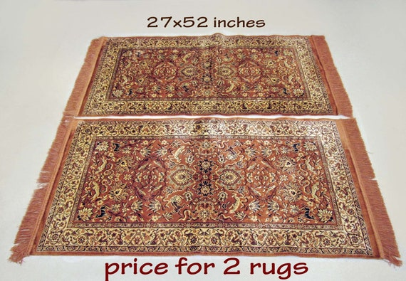 Excellent Oriental Accent Rug Turkish Asian Persian Rug Exotic Animals Plants Tapestry Coverlet Wall Decor Sofa Bed Table Ethnic Viscose Like New Gmtry Best Dining Table And Chair Ideas Images Gmtryco